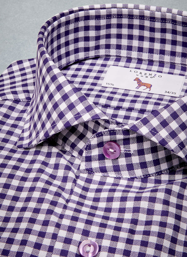 Maxwell in Purple Gingham Shirt