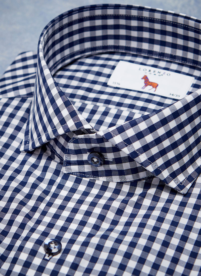 Alexander in Navy Gingham Shirt