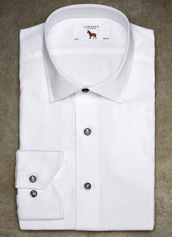 Alexander in White Herringbone Shirt