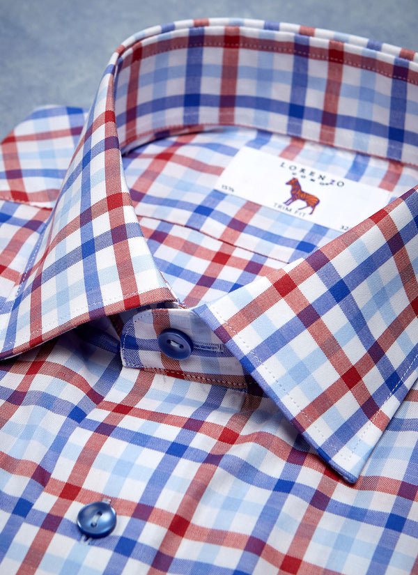 William Fullest Fit Shirt in Blue & Red Plaid