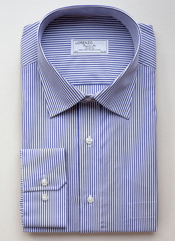 William Fullest Fit Shirt in Dark Blue Stripe