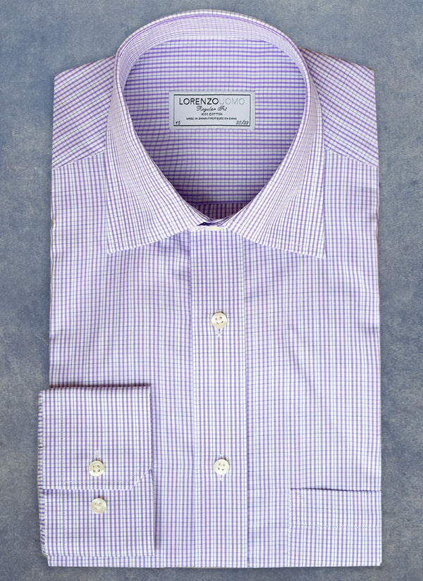 William Fullest Fit Shirt in Purple Gingham