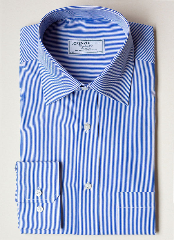 William Fullest Fit Shirt in Thin Blue Thin Stripe