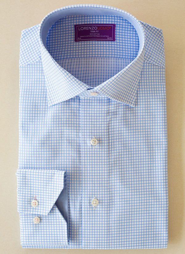 Maxwell in Light Blue Windowpane Shirt