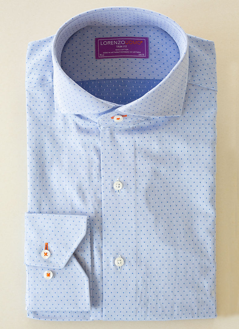 Maxwell in Textured Blue Dot Shirt