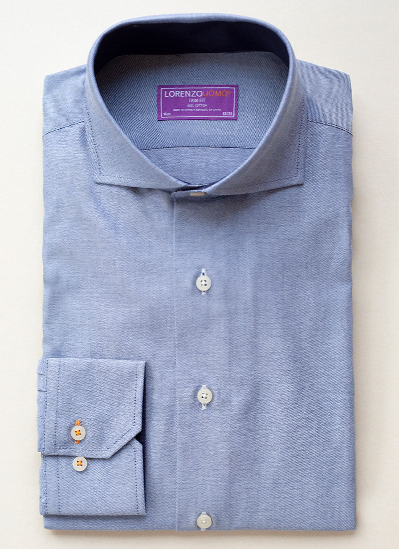 Maxwell in Blue Solid Oxford Shirt