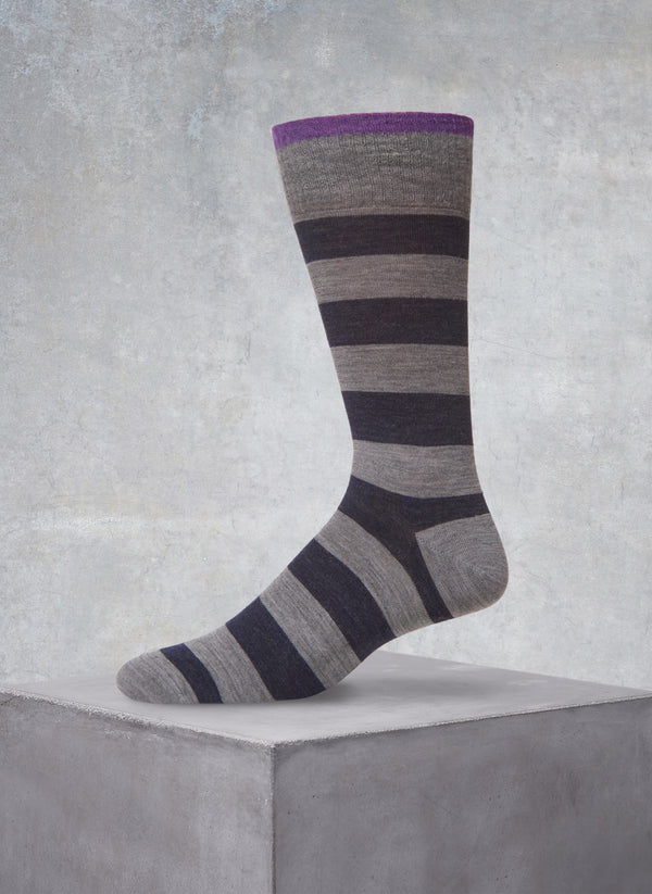 Wide Stripes Sock in Grey and Navy