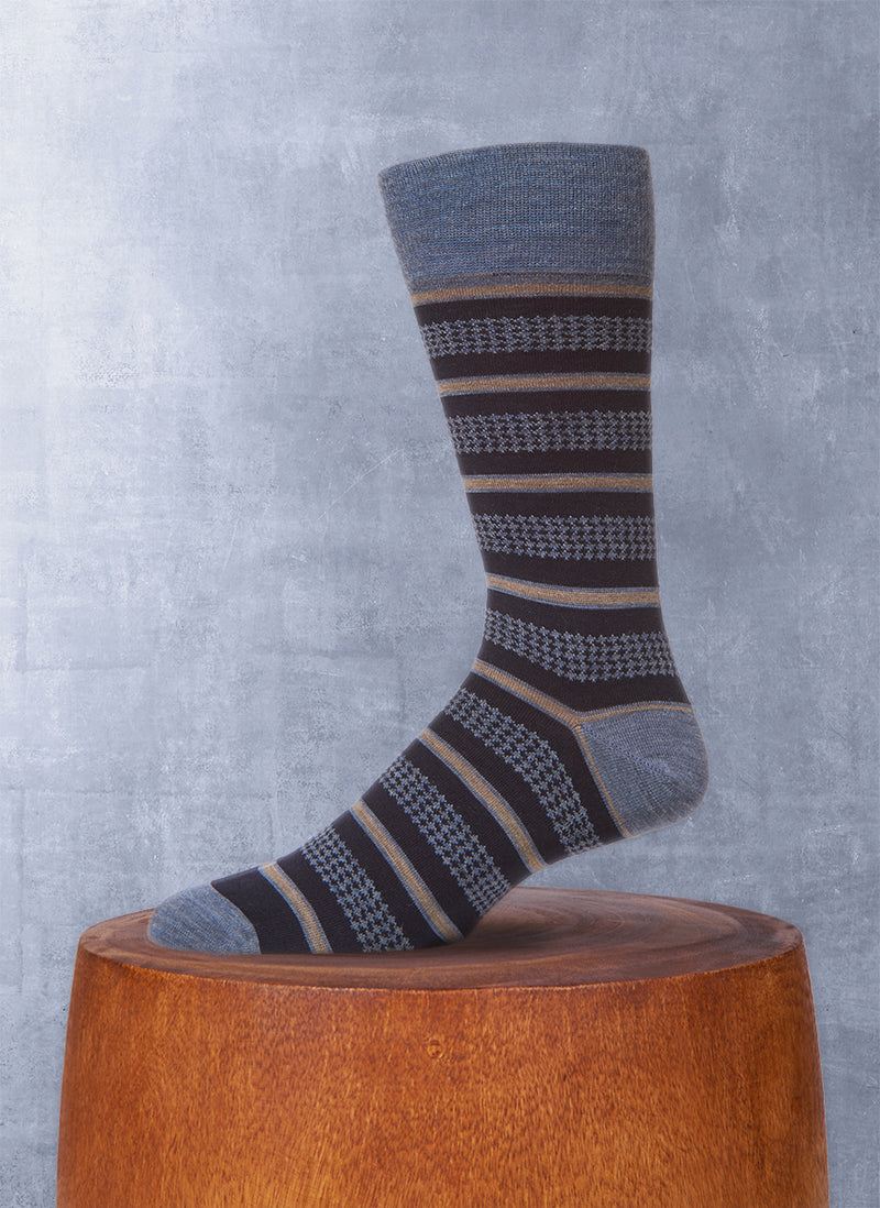 Houndstooth Stripe Sock in Denim
