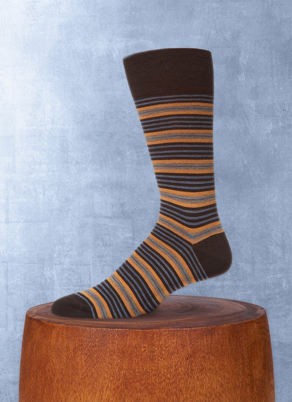 Thin and Thick Stripe Sock in Brown