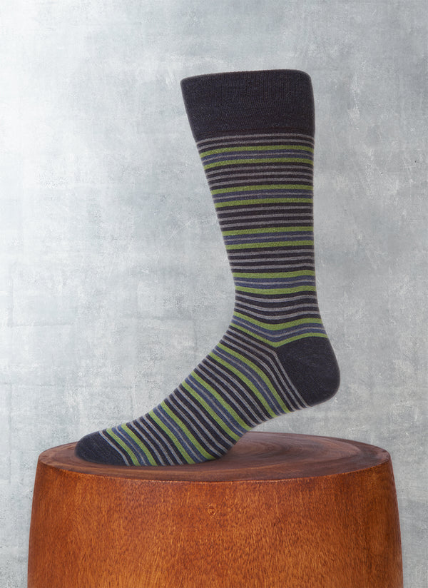 Thin and Thick Stripe Sock in Navy