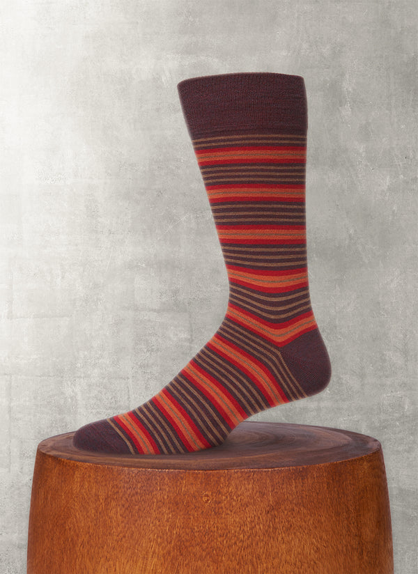 Thin and Thick Stripe Sock in Burgundy