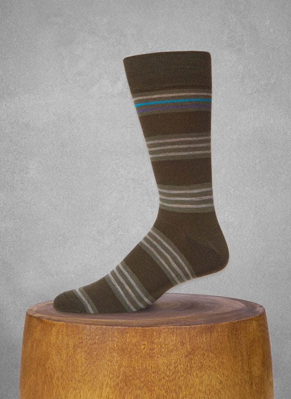 Contrast Top Stripe Sock in Olive Green