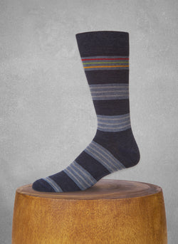 Contrast Top Stripe Sock in Navy