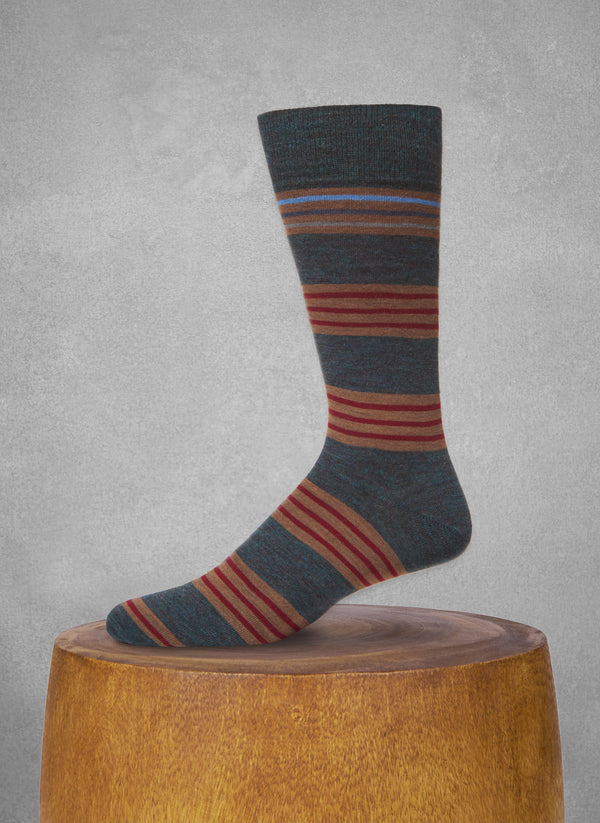Contrast Top Stripe Sock in Teal