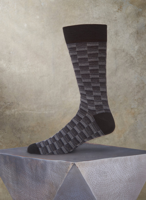 Repeated Rectangles Sock in Black