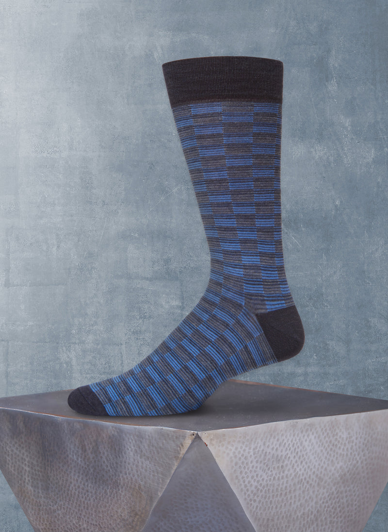 Repeated Rectangles Sock in Navy