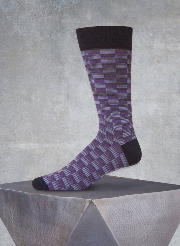 Repeated Rectangles Sock in Purple