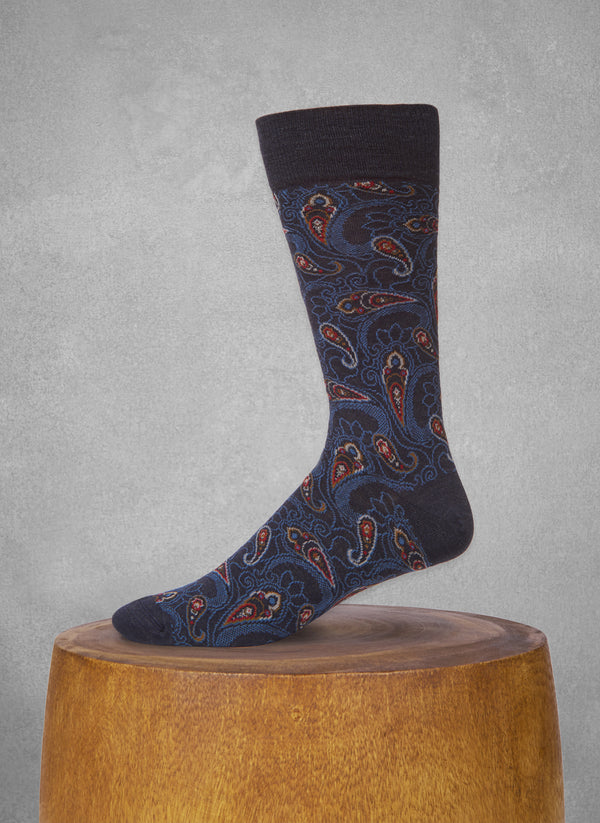 Large Multi Paisley Sock in Navy