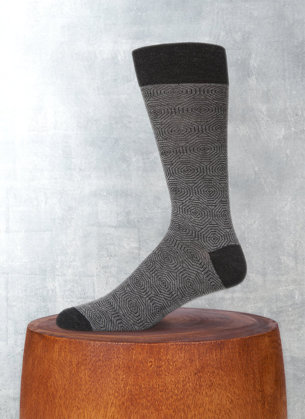 Merino Wool Hexagon Sock in Charcoal