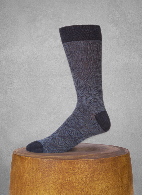 Merino Wool Hexagon Sock in Navy