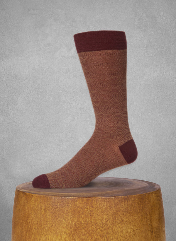 Merino Wool Hexagon Sock in Bordeaux