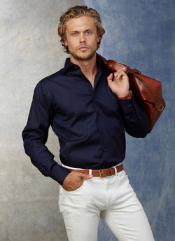 Liam in Navy Poplin Shirt