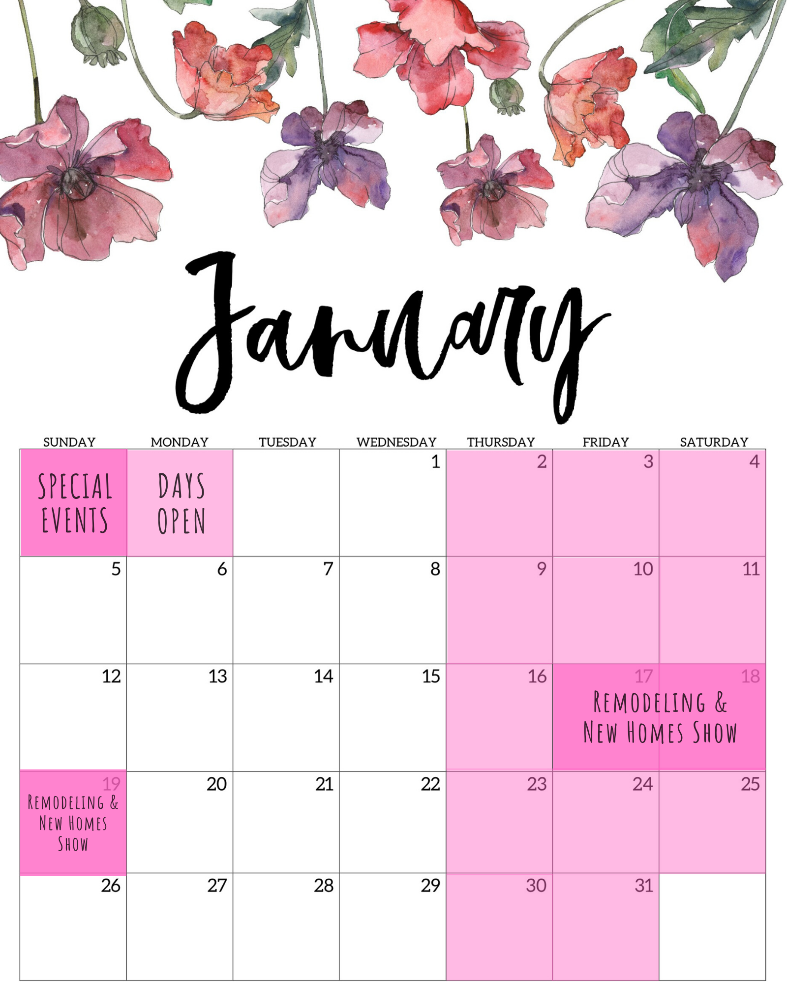 Delight In Designs-January Calendar- Events