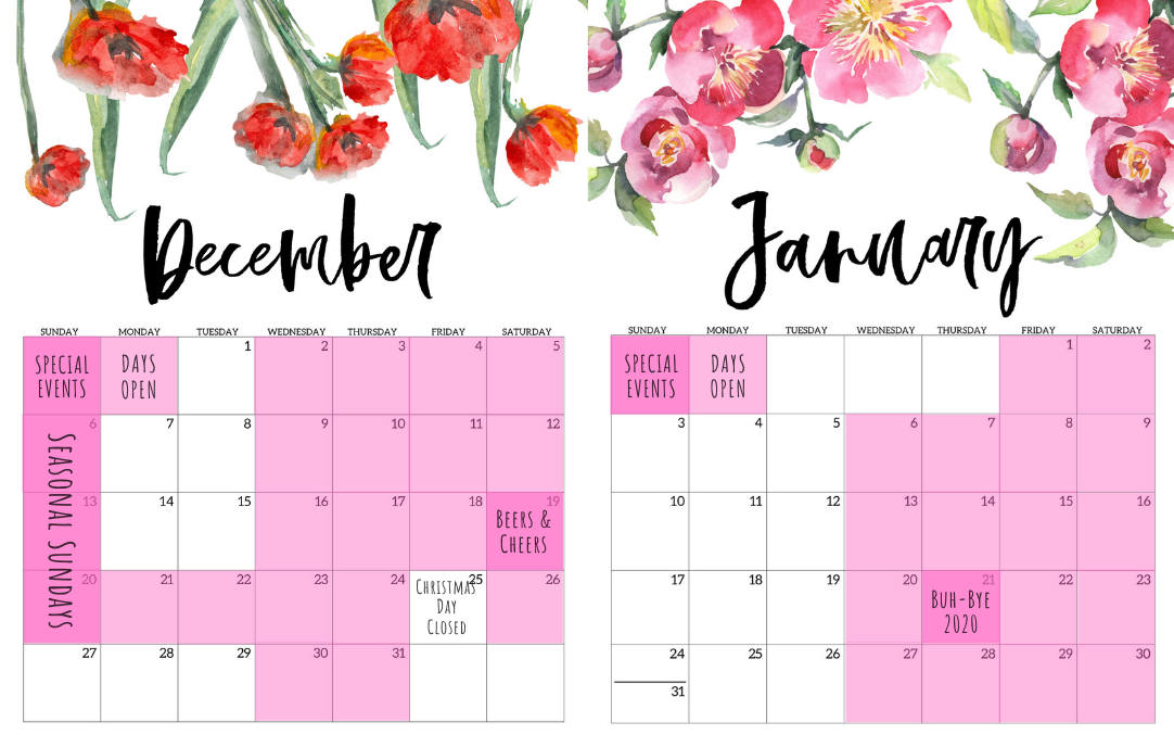 Delight In Designs-Calendar-Special Events-December-January