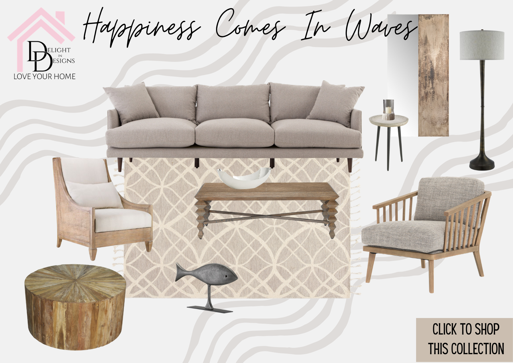 Happiness Comes In Waves Living Collection-Delight In Designs-Grand Rapids MI-West Michigan-Interior Design