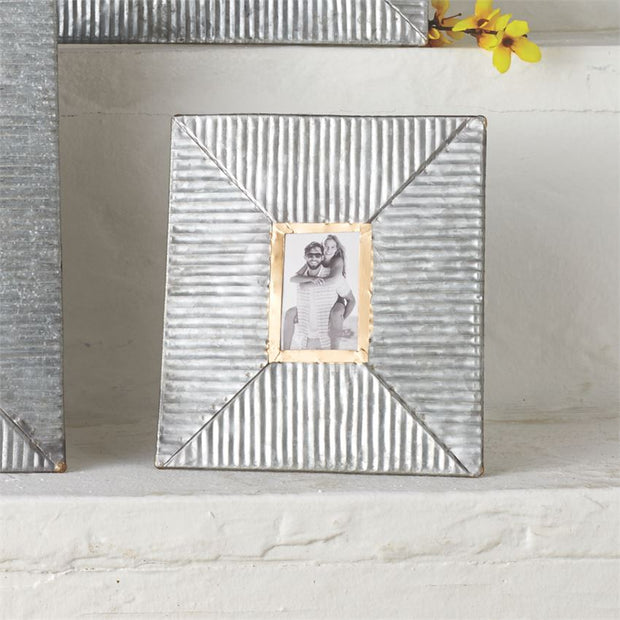 Mud Pie Corrugated Metal Frame Portrait Sm - Delight In Designs