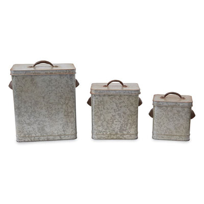 Mud Pie Tin Galvanized Canister - Delight In Designs