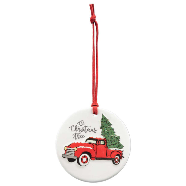RED TRUCK PORCELAIN ORNAMENT - Delight In Designs