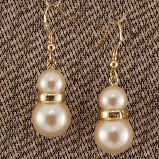 Gold Double Pear Earrings White Pearls - Delight In Designs