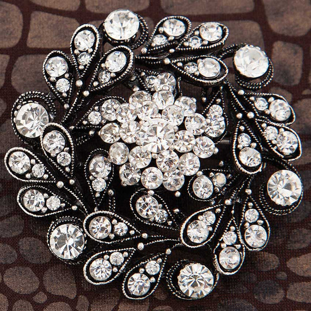 Silver Flower Hat/Shawl Pin with Crystals - Delight In Designs