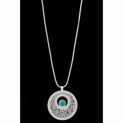 Platinum Necklace with Green Stone Medallion - Delight In Designs