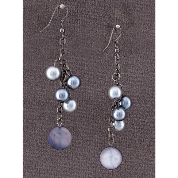 Gray and Black Beads Earrings - Delight In Designs