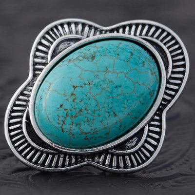 OVAL TURQUOISE ADJUSTABLE RING - Delight In Designs