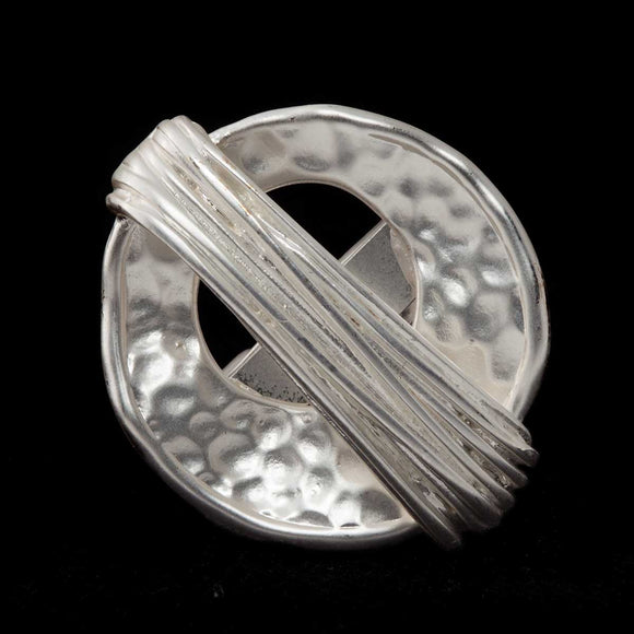 Hammered Satin Silver Adjustable Ring - Delight In Designs