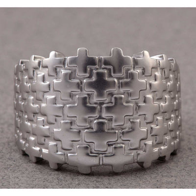 Silver Cross Link Ring - Delight In Designs