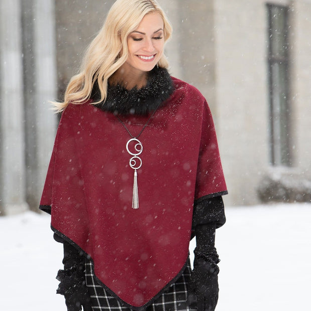 Burgundy Poncho with Black Fur Collar - Delight In Designs