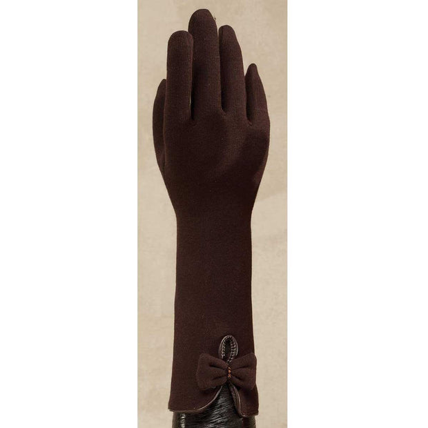 Brown Wool Blend Cape Gloves with Bow - Delight In Designs