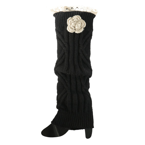 Black Crochet Flower Boot Cuff