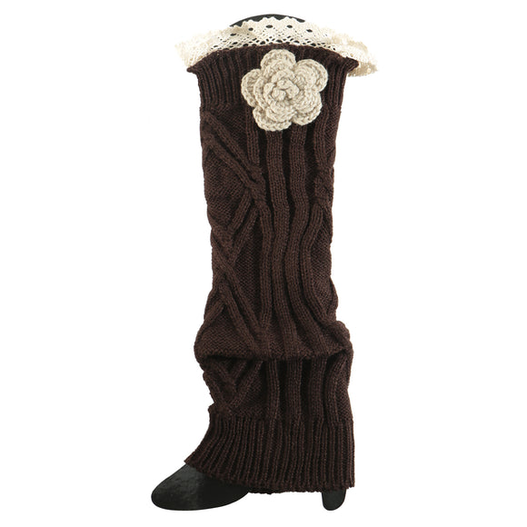 Brown Crochet Flower Boot Cuff