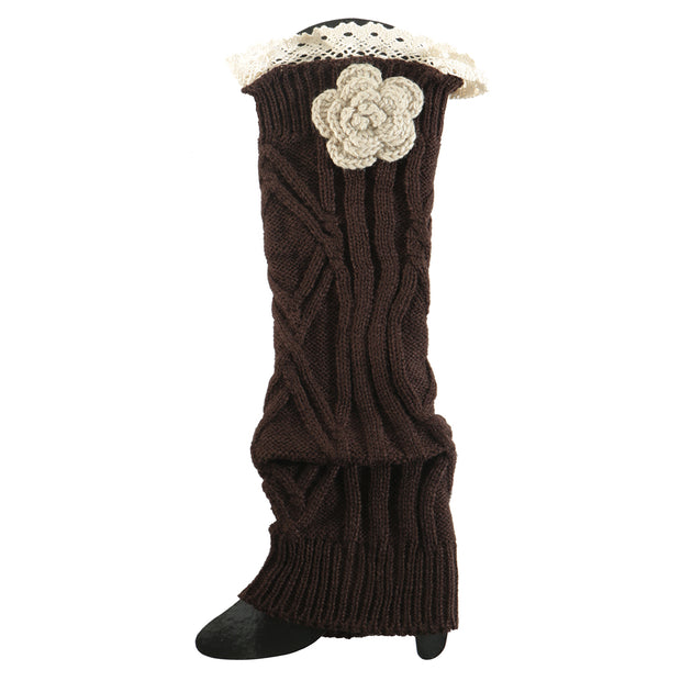 Brown Crochet Flower Boot Cuff - Delight In Designs