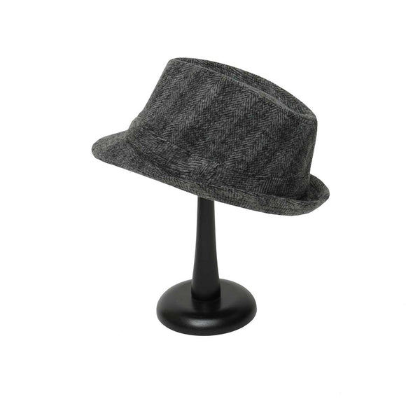 Grey Herringbone Fedora with Band