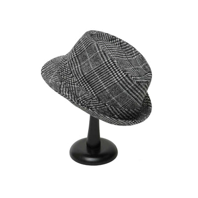 Black and White Plaid Fedora with Band - Delight In Designs