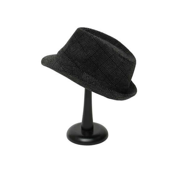 Grey and Black Plaid Fedora with Band