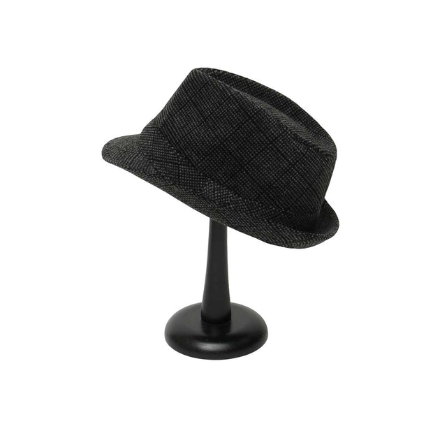 Grey and Black Plaid Fedora with Band - Delight In Designs