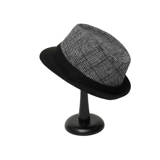 Black and White Plaid Fedora with Black Brim - Delight In Designs