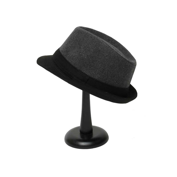 Grey Fedora with Black Brim - Delight In Designs